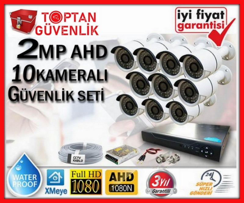 2 MP 1080P FULL HD AHD 10 KAMERALI GÜVENLİK KAMERA SETİ ARNA-7370