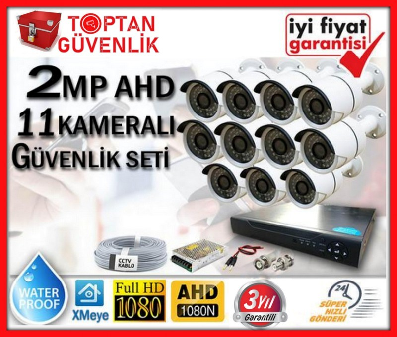 2 MP 1080P FULL HD AHD 11 KAMERALI GÜVENLİK KAMERA SETİ ARNA-7371