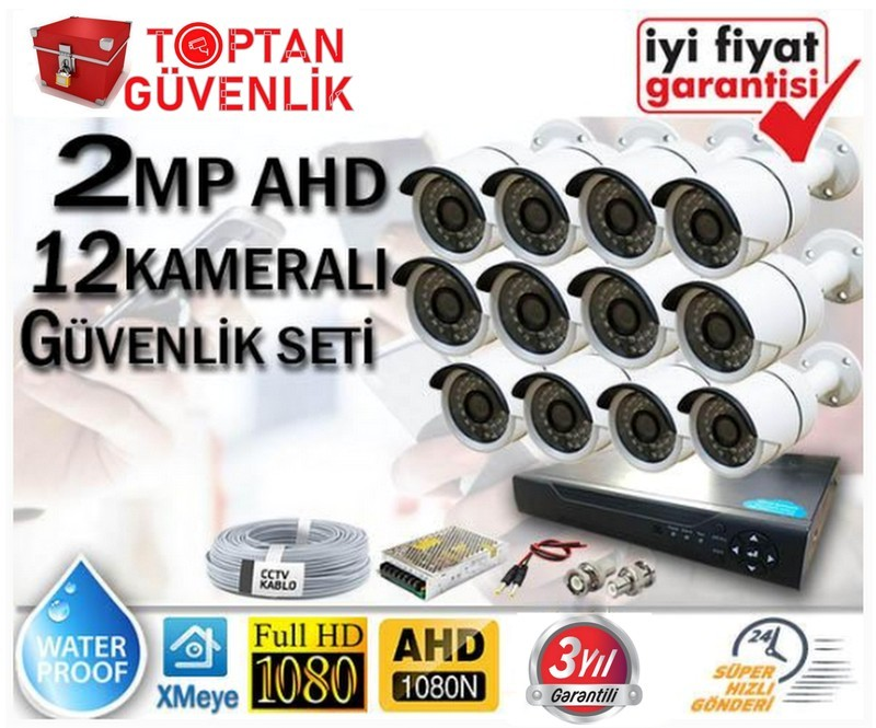 2 MP 1080P FULL HD AHD 12 KAMERALI GÜVENLİK KAMERA SETİ ARNA-7372