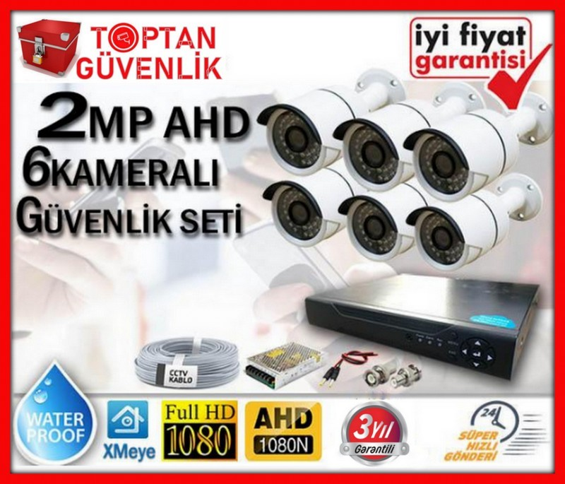 2 MP 1080P FULL HD AHD 6 KAMERALI GÜVENLİK KAMERA SETİ ARNA-7366