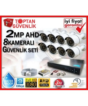 2 MP 1080P FULL HD AHD 8 KAMERALI GÜVENLİK KAMERA SETİ ARNA-7368