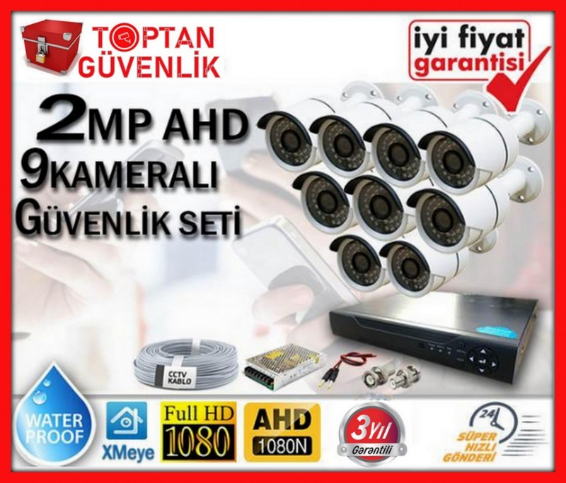 2 MP 1080P FULL HD AHD 9 KAMERALI GÜVENLİK KAMERA SETİ ARNA-7369