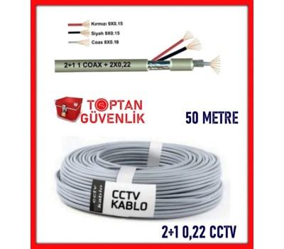 2+1 50 Metre 0,22 CCTV Kamera Kablosu ARNA-5022