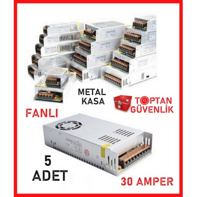 Cortex 12V 30 Amper Fanlı Metal Kasa Kamera Adaptörü 5 Adet Ekonomik Paket